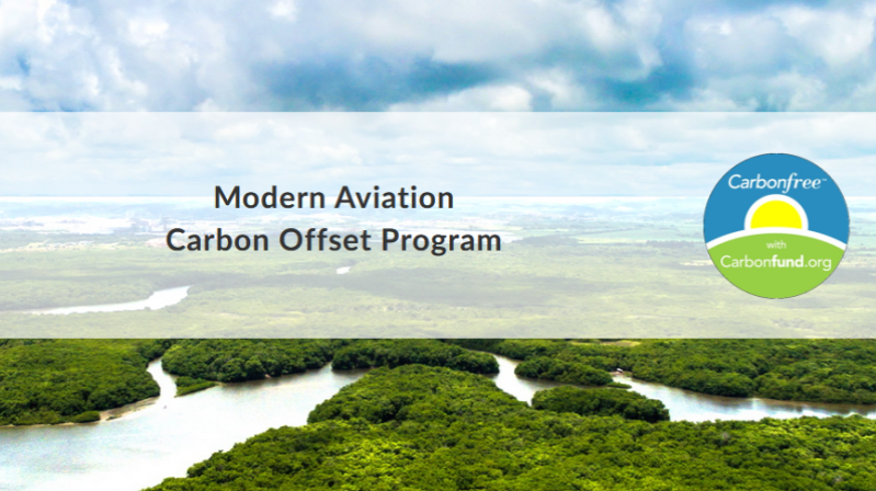 Modern Aviation Partners with Carbonfund.org Foundation to Offset Aviation Fuel Carbon Emissions