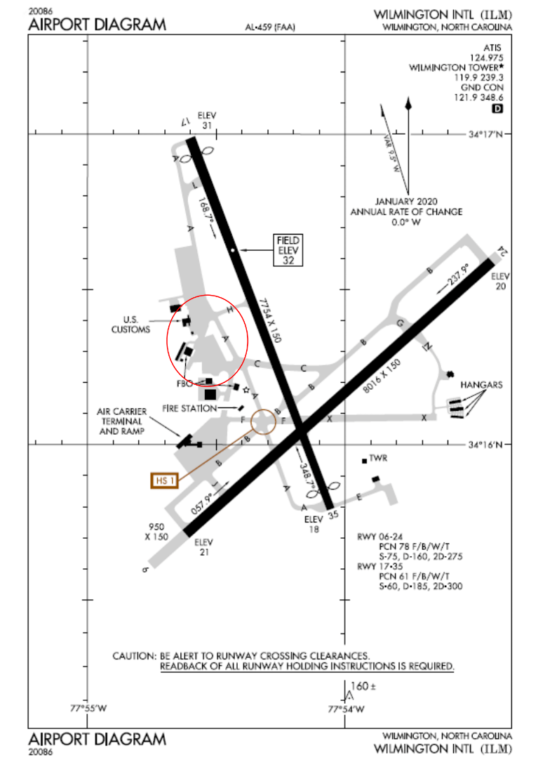 Airport Diagram Wilimington Nc